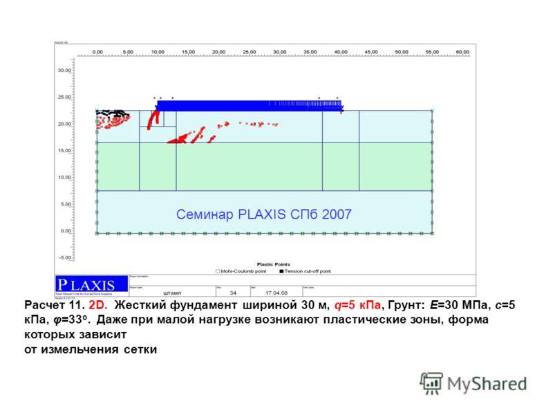 Расчет 11. 2D. Жесткий фундамент шириной 30 м, q=5 кПа, Грунт: Е=30 МПа, c=5 кПа, φ=33 o. Даже при малой нагрузке возникают пластические зоны, форма которых зависит от измельчения сетки Семинар PLAXIS CПб 2007