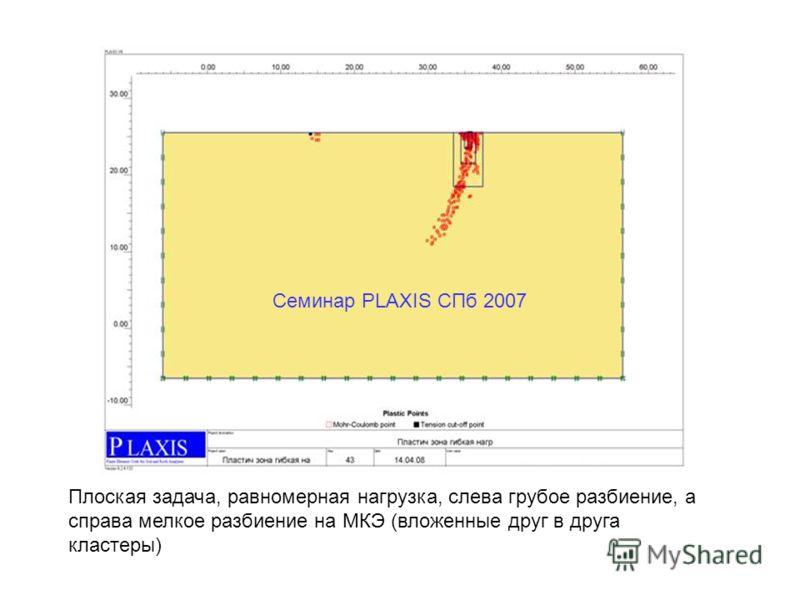 Семинар PLAXIS CПб 2007 Плоская задача, равномерная нагрузка, слева грубое разбиение, а справа мелкое разбиение на МКЭ (вложенные друг в друга кластеры)