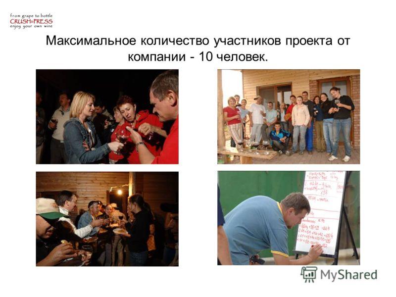 Максимальное количество участников проекта от компании - 10 человек.
