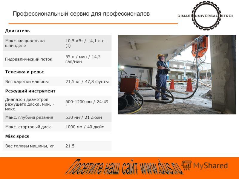Профессиональный сервис для профессионалов Двигатель Макс. мощность на шпинделе 10,5 кВт / 14,1 л.с. (I) Гидравлический поток 55 л / мин / 14,5 гал/мин Тележка и рельс Вес каретки машины21,5 кг / 47,8 фунты Режущий инструмент Диапазон диаметров режущ