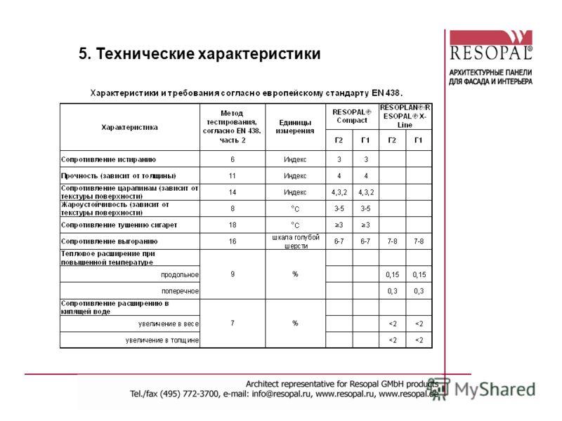 5. Технические характеристики