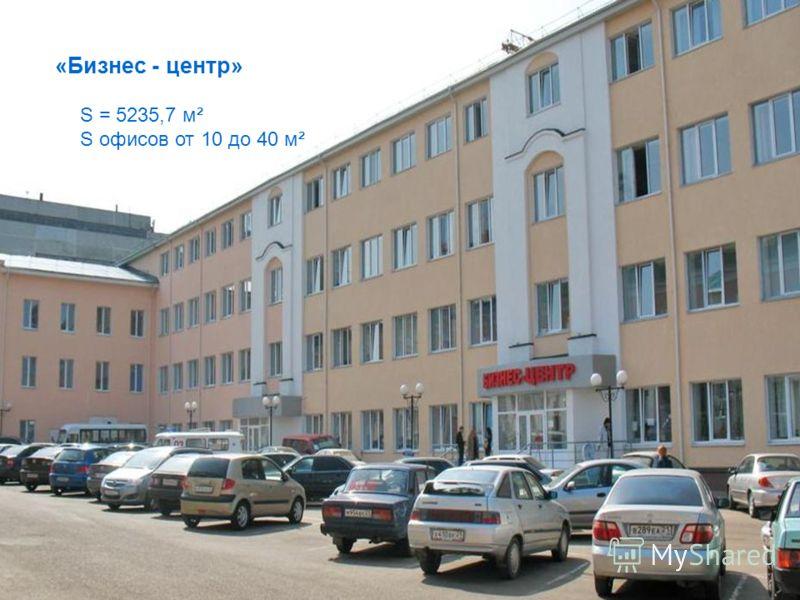 «Бизнес - центр» S = 5235,7 м² S офисов от 10 до 40 м²