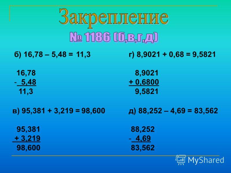 б) 16,78 – 5,48 = 16,78 - 5,48 11,3 в) 95,381 + 3,219 = 95,381 + 3,219 98,600 г) 8,9021 + 0,68 = 8,9021 + 0,6800 9,5821 д) 88,252 – 4,69 = 88,252 - 4,69 83,562 11,3 98,600 9,5821 83,562