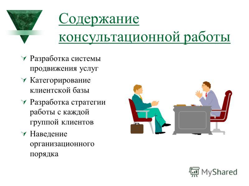 Содержание консультационной работы Разработка системы продвижения услуг Категорирование клиентской базы Разработка стратегии работы с каждой группой клиентов Наведение организационного порядка