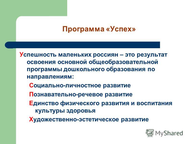 Программа «Успех» Успешность маленьких россиян – это результат освоения основной общеобразовательной программы дошкольного образования по направлениям: Социально-личностное развитие Познавательно-речевое развитие Единство физического развития и воспи