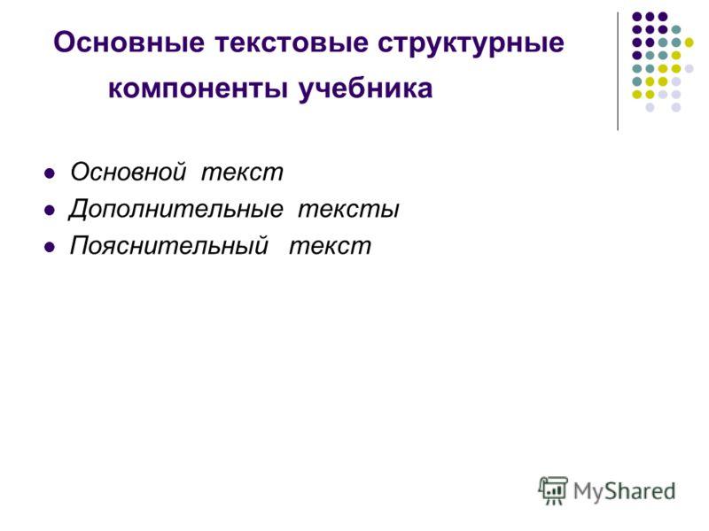 Основные текстовые структурные компоненты учебника Основной текст Дополнительные тексты Пояснительный текст