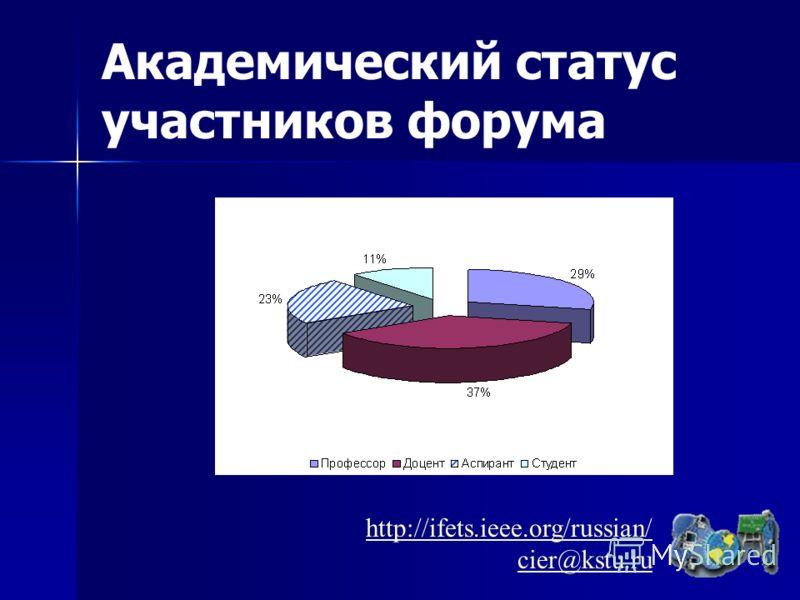 Академический статус участников форума http://ifets.ieee.org/russian/ cier@kstu.ru