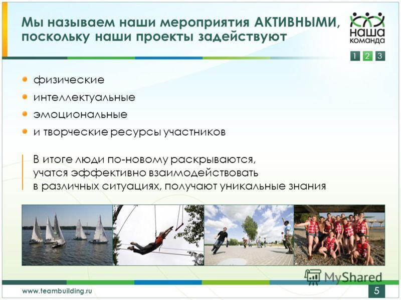 123 www.teambuilding.ru 5 Мы называем наши мероприятия АКТИВНЫМИ, поскольку наши проекты задействуют физические интеллектуальные эмоциональные и творческие ресурсы участников В итоге люди по-новому раскрываются, учатся эффективно взаимодействовать в