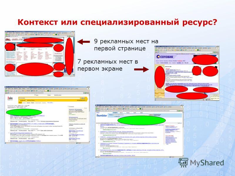 Контекст или специализированный ресурс? 9 рекламных мест на первой странице 7 рекламных мест в первом экране