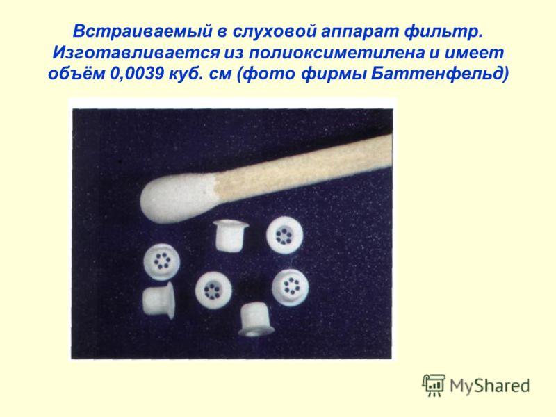 Встраиваемый в слуховой аппарат фильтр. Изготавливается из полиоксиметилена и имеет объём 0,0039 куб. см (фото фирмы Баттенфельд)