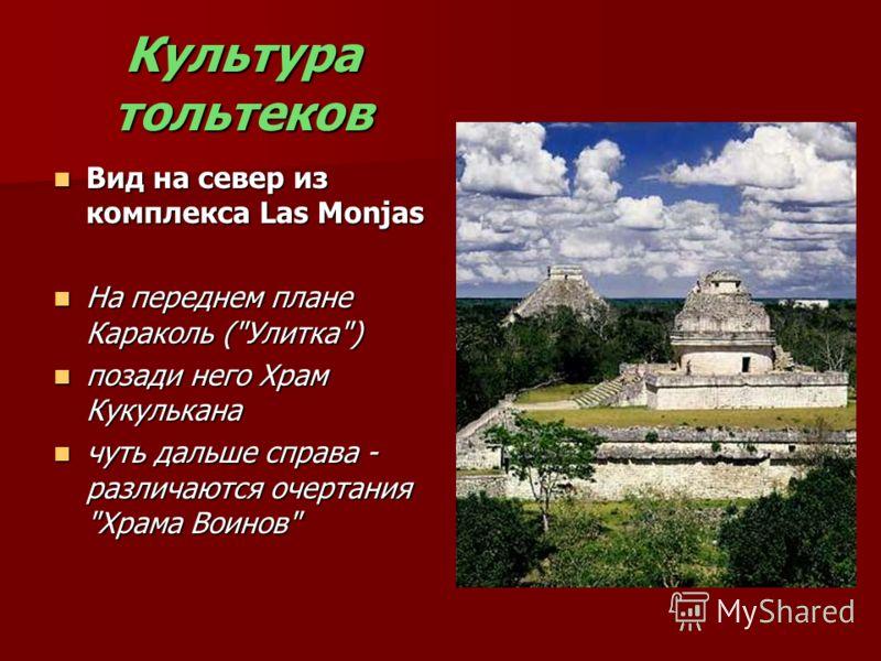 Культура тольтеков Вид на север из комплекса Las Monjas Вид на север из комплекса Las Monjas На переднем плане Караколь (