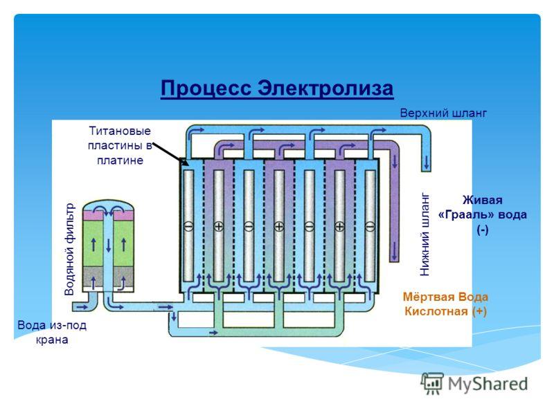 Процесс Электролиза Вода из-под крана Водян o й фильтр Верхний шланг Нижний шланг Живая «Грааль» вода (-) Мёртвая Вода Кислотная (+) Титановые пластины в платине
