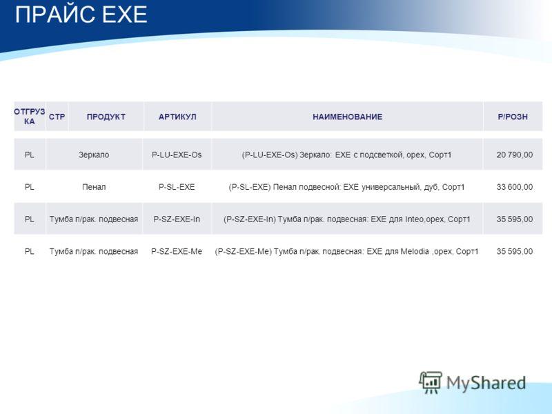 ПРАЙС EXE PLЗеркалоP-LU-EXE-Os(P-LU-EXE-Os) Зеркало: EXE с подсветкой, орех, Сорт1 20 790,00 PLПеналP-SL-EXE(P-SL-EXE) Пенал подвесной: EXE универсальный, дуб, Сорт1 33 600,00 PLТумба п/рак. подвеснаяP-SZ-EXE-In(P-SZ-EXE-In) Тумба п/рак. подвесная: E