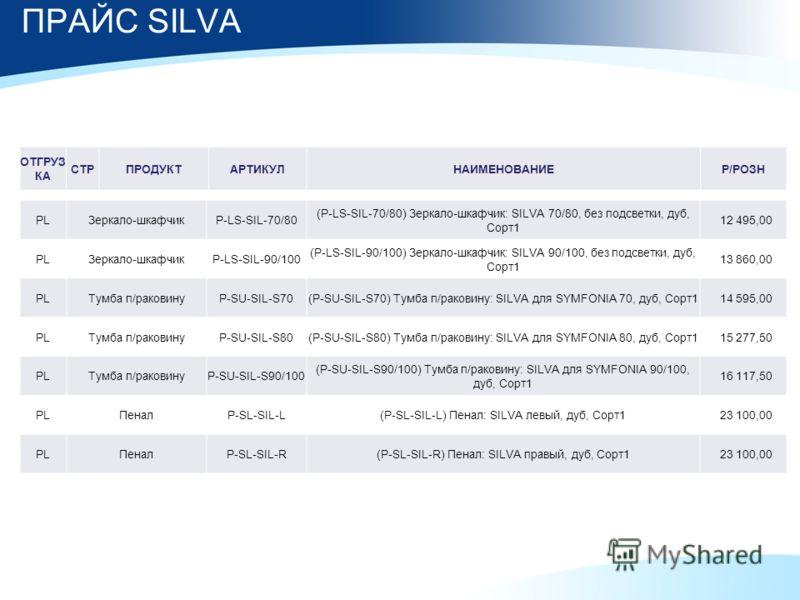 ПРАЙС SILVA PLЗеркало-шкафчикP-LS-SIL-70/80 (P-LS-SIL-70/80) Зеркало-шкафчик: SILVA 70/80, без подсветки, дуб, Сорт1 12 495,00 PLЗеркало-шкафчикP-LS-SIL-90/100 (P-LS-SIL-90/100) Зеркало-шкафчик: SILVA 90/100, без подсветки, дуб, Сорт1 13 860,00 PLТум