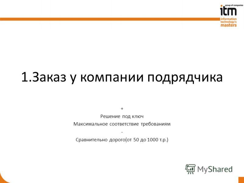 1.Заказ у компании подрядчика + Решение под ключ Максимальное соответствие требованиям - Сравнительно дорого(от 50 до 1000 т.р.)