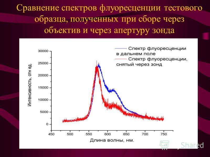 Сравнение спектров флуоресценции тестового образца, полученных при сборе через объектив и через апертуру зонда