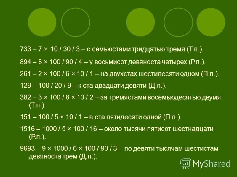 733 – 7 × 10 / 30 / 3 – с семьюстами тридцатью тремя (Т.п.). 894 – 8 × 100 / 90 / 4 – у восьмисот девяноста четырех (Р.п.). 261 – 2 × 100 / 6 × 10 / 1 – на двухстах шестидесяти одном (П.п.). 129 – 100 / 20 / 9 – к ста двадцати девяти (Д.п.). 382 – 3