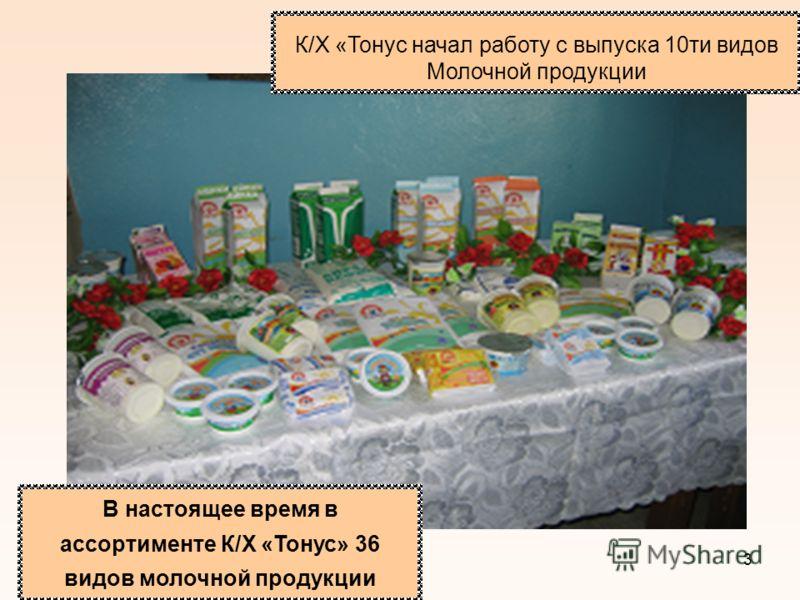 3 В настоящее время в ассортименте К/Х «Тонус» 36 видов молочной продукции К/Х «Тонус начал работу с выпуска 10ти видов Молочной продукции