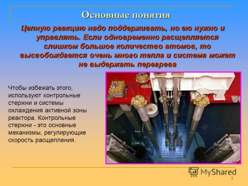 4 Ядерный р еактор – у становка, в к оторой осуществляется у правляемая ц епная р еакция деления т яжелых я дер и к оторая сопровождается в ыделением э нергии Ядерный реактор Основные понятия