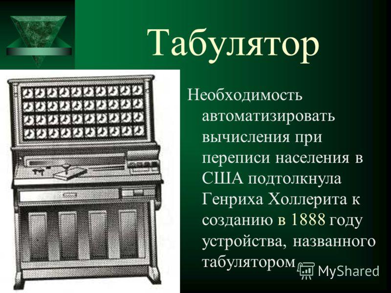 Табулятор Необходимость автоматизировать вычисления при переписи населения в США подтолкнула Генриха Холлерита к созданию в 1888 году устройства, названного табулятором