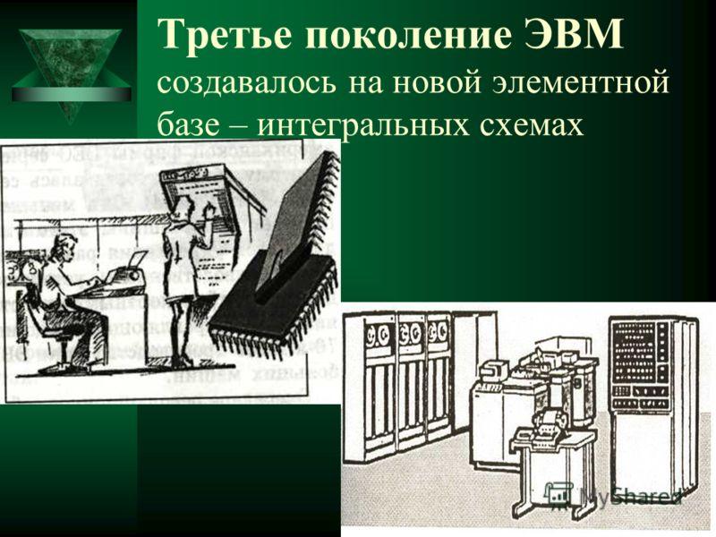 Третье поколение ЭВМ создавалось на новой элементной базе – интегральных схемах