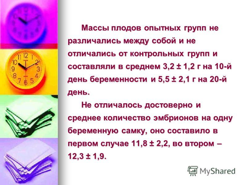 Массы плодов опытных групп не различались между собой и не отличались от контрольных групп и составляли в среднем 3,2 ± 1,2 г на 10-й день беременности и 5,5 ± 2,1 г на 20-й день. Не отличалось достоверно и среднее количество эмбрионов на одну береме