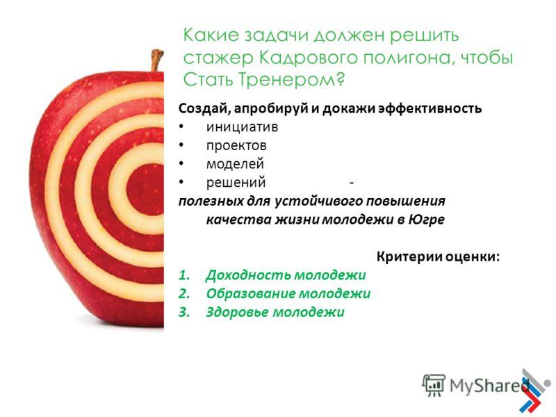 Какие задачи должен решить стажер Кадрового полигона, чтобы Стать Тренером? Создай, апробируй и докажи эффективность инициатив проектов моделей решений - полезных для устойчивого повышения качества жизни молодежи в Югре Критерии оценки: 1.Доходность