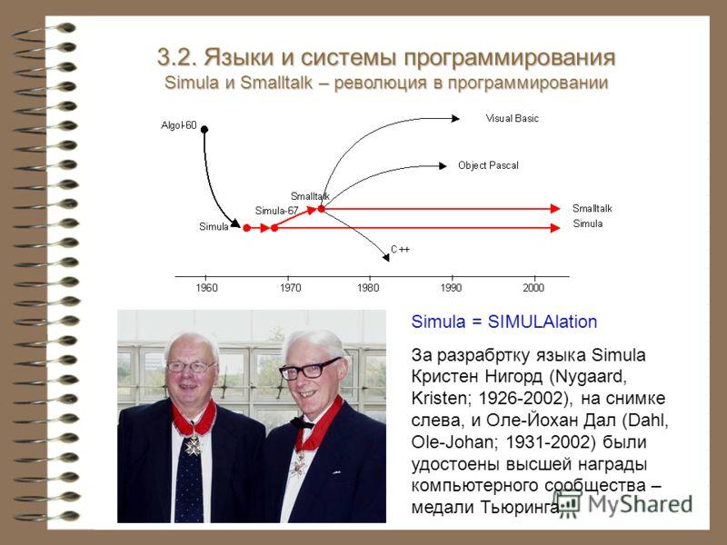 3.2. Языки и системы программирования Simula и Smalltalk – революция в программировании Simula = SIMULAlation За разрабртку языка Simula Кристен Нигорд (Nygaard, Kristen; 1926-2002), на снимке слева, и Оле-Йохан Дал (Dahl, Ole-Johan; 1931-2002) были