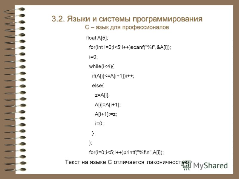 Текст на языке С отличается лаконичностью float A[5]; for(int i=0;i
