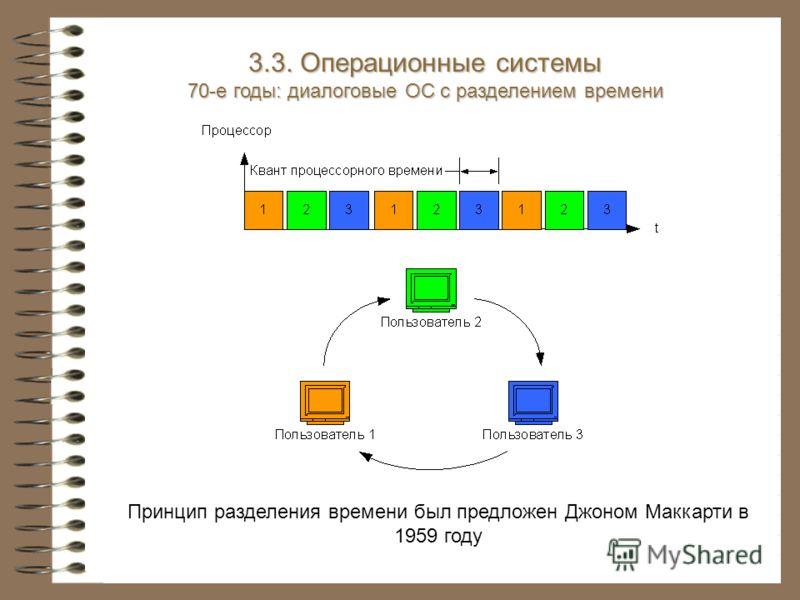 Принцип разделения времени был предложен Джоном Маккарти в 1959 году 3.3. Операционные системы 70-е годы: диалоговые ОС с разделением времени