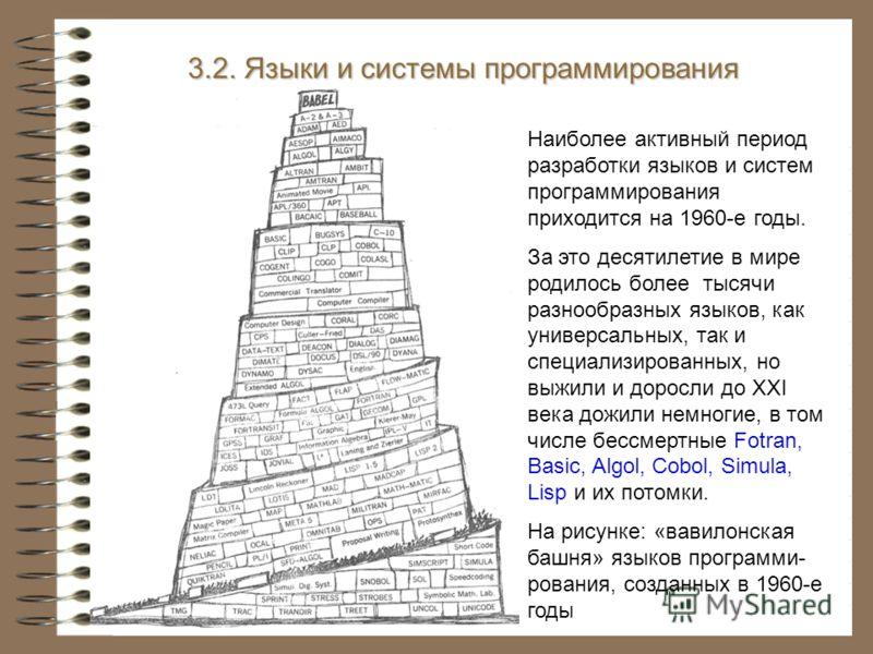 3.2. Языки и системы программирования Наиболее активный период разработки языков и систем программирования приходится на 1960-е годы. За это десятилетие в мире родилось более тысячи разнообразных языков, как универсальных, так и специализированных, н