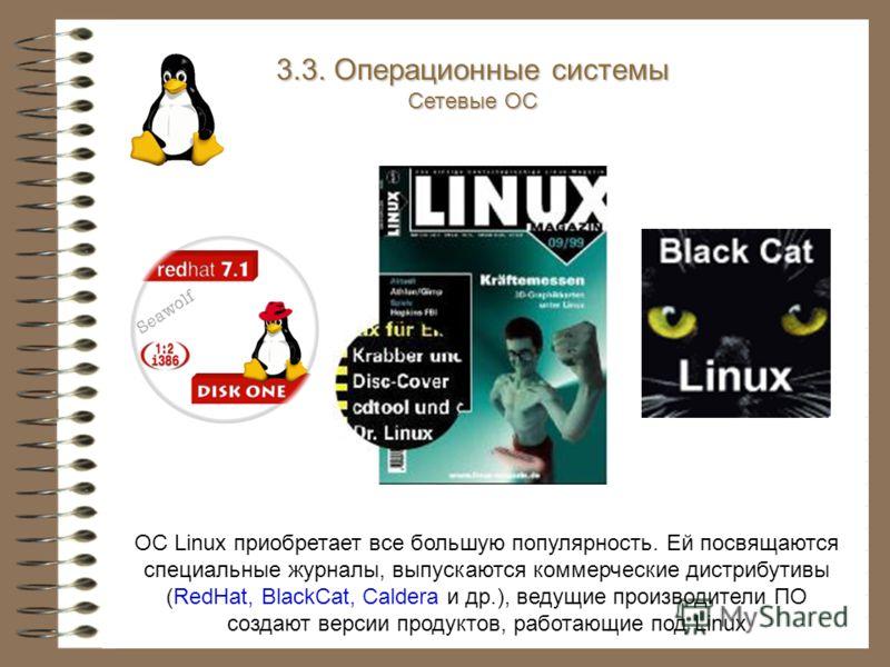 ОС Linux приобретает все большую популярность. Ей посвящаются специальные журналы, выпускаются коммерческие дистрибутивы (RedHat, BlackCat, Caldera и др.), ведущие производители ПО создают версии продуктов, работающие под Linux 3.3. Операционные сист