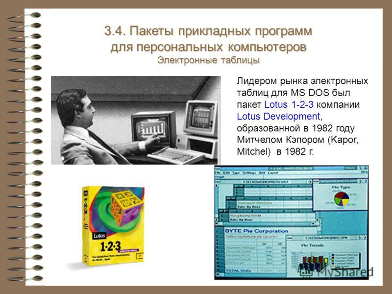 3.4. Пакеты прикладных программ для персональных компьютеров Электронные таблицы Лидером рынка электронных таблиц для MS DOS был пакет Lotus 1-2-3 компании Lotus Development, образованной в 1982 году Митчелом Кэпором (Kapor, Mitchel) в 1982 г.