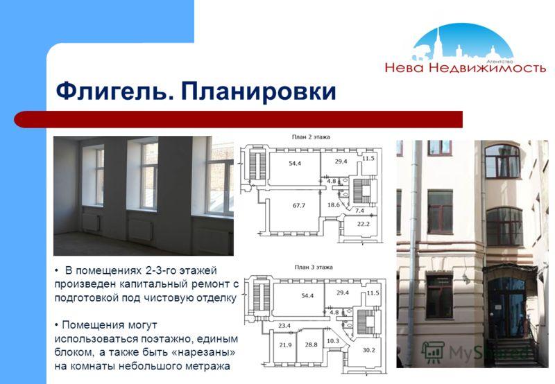 Флигель. Планировки В помещениях 2-3-го этажей произведен капитальный ремонт с подготовкой под чистовую отделку Помещения могут использоваться поэтажно, единым блоком, а также быть «нарезаны» на комнаты небольшого метража