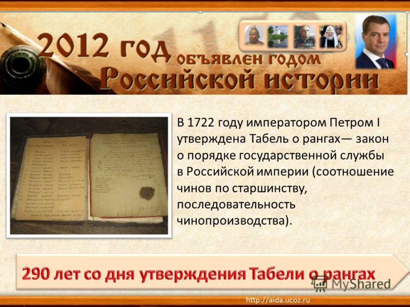 В 1722 году императором Петром I утверждена Табель о рангах закон о порядке государственной службы в Российской империи (соотношение чинов по старшинству, последовательность чинопроизводства).
