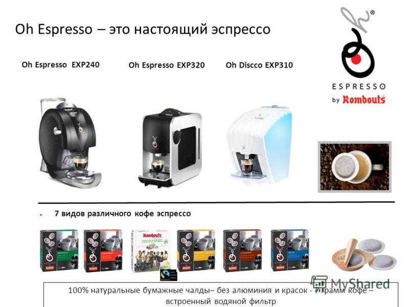 Oh Espresso – это настоящий эспрессо 7 видов различного кофе эспрессо 100% натуральные бумажные чалды– без алюминия и красок - 7 грамм кофе – встроенный водяной фильтр Oh Espresso EXP240 Oh Espresso EXP320Oh Discco EXP310