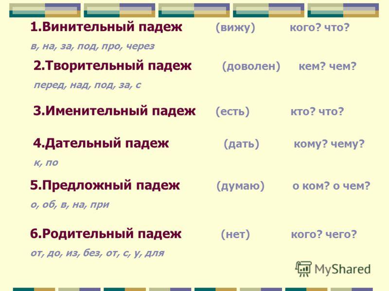 Тема: «Обобщение знаний о падежах» повторение, обобщение и расширение знаний по теме, употребление имен существительных в речи.