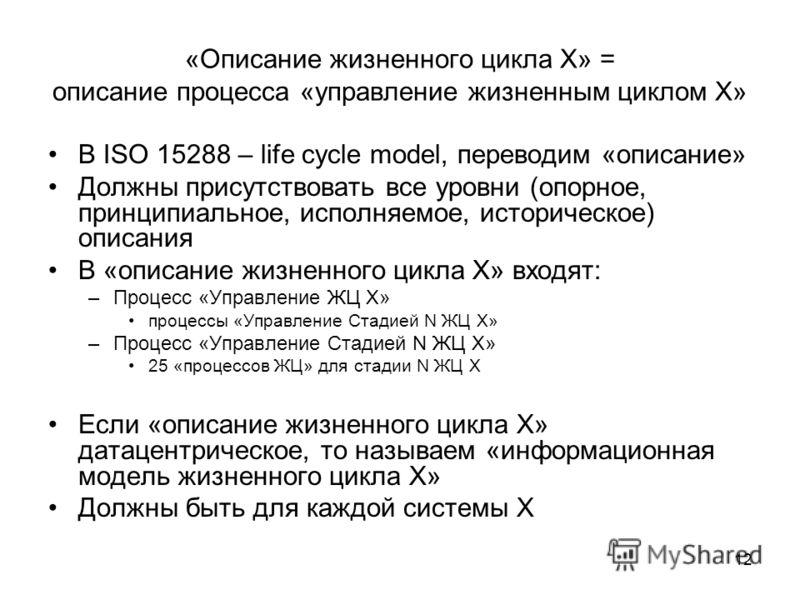 12 «Описание жизненного цикла X» = описание процесса «управление жизненным циклом X» В ISO 15288 – life cycle model, переводим «описание» Должны присутствовать все уровни (опорное, принципиальное, исполняемое, историческое) описания В «описание жизне
