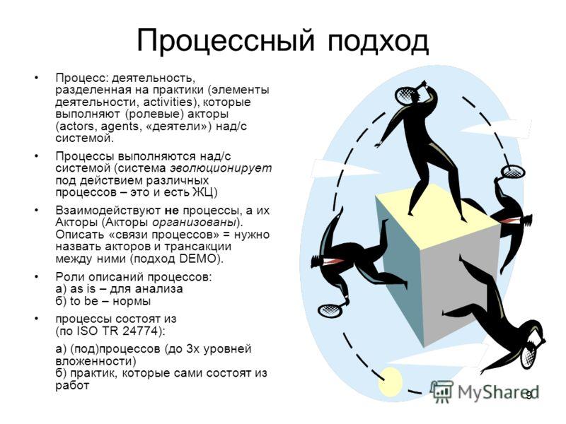 9 Процессный подход Процесс: деятельность, разделенная на практики (элементы деятельности, activities), которые выполняют (ролевые) акторы (actors, agents, «деятели») над/c системой. Процессы выполняются над/с системой (система эволюционирует под дей