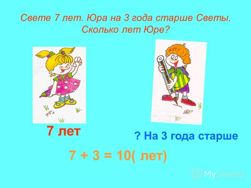 Свете 7 лет. Юра на 3 года старше Светы. Сколько лет Юре? 7 лет ? На 3 года старше 7 + 3 = 10( лет)