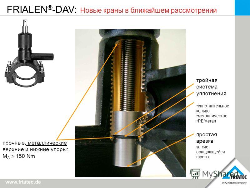 FRIALEN ® -DAV: Новые краны в ближайшем рассмотрении прочные, металлические верхние и нижние упоры: M A 150 Nm тройная система уплотнения уплотнительное кольцо металлическое PE/метал простая врезка за счет вращающейся фрезы