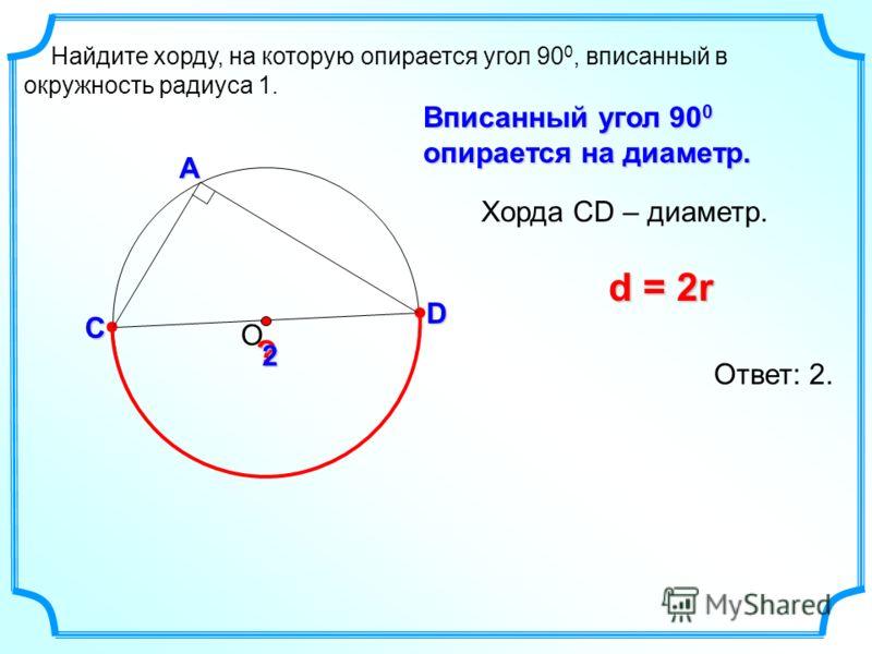Найдите хорду, на которую опирается угол 90 0, вписанный в окружность радиуса 1. ОС А D ? Вписанный угол 90 0 опирается на диаметр. Хорда СD – диаметр. d = 2r Ответ: 2. 2