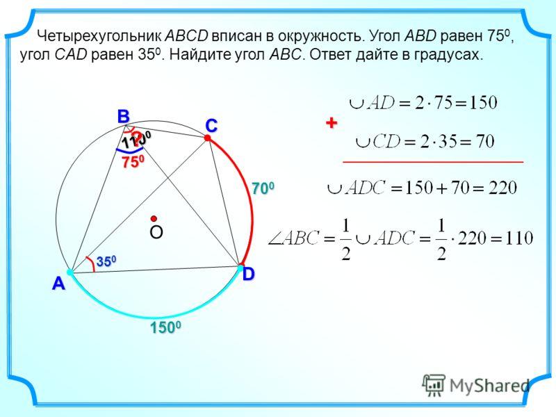 75 0 700700700700 А Четырехугольник ABCD вписан в окружность. Угол ABD равен 75 0, угол CAD равен 35 0. Найдите угол ABC. Ответ дайте в градусах. О С D В 110 0 ? 35 0 + 150 0