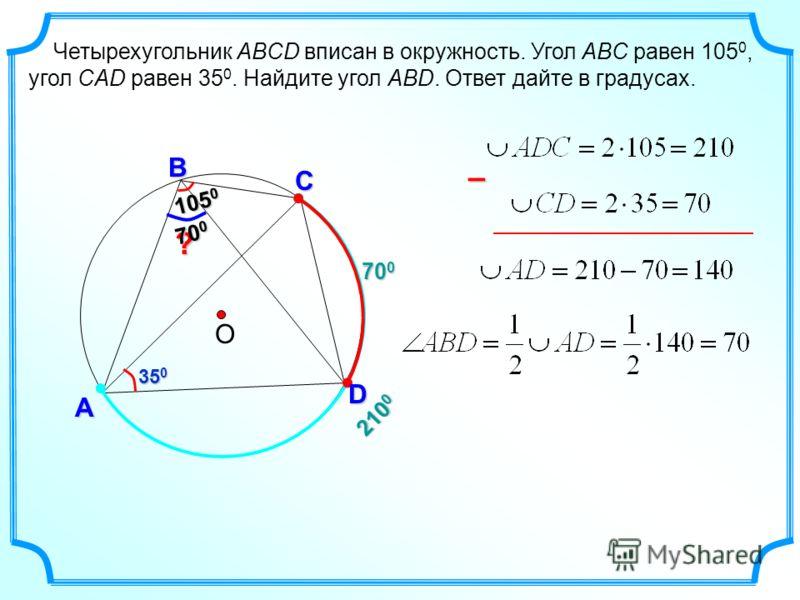 700700700700 А Четырехугольник ABCD вписан в окружность. Угол ABC равен 105 0, угол CAD равен 35 0. Найдите угол ABD. Ответ дайте в градусах. О С D В 105 0 ? 35 0 – 210 0 70 0