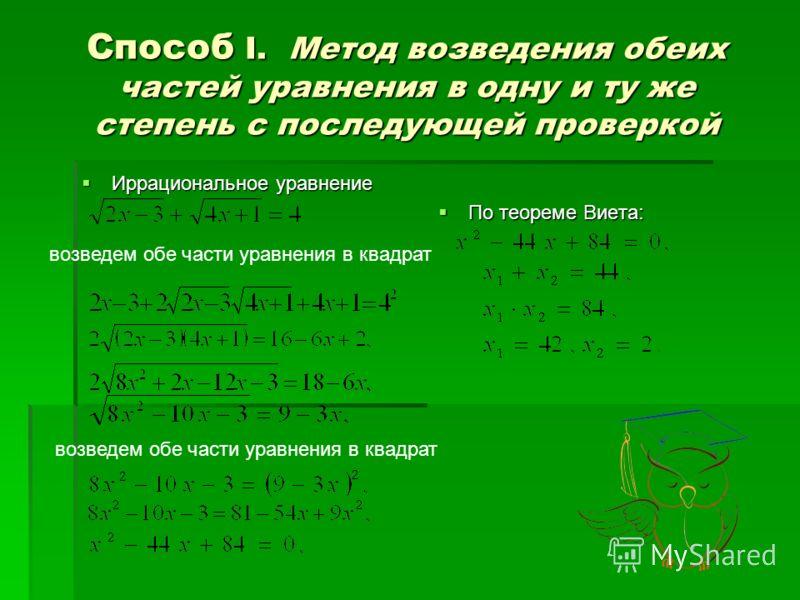 Способ I. М М М Метод возведения обеих частей уравнения в одну и ту же степень с последующей проверкой Иррациональное уравнение По теореме Виета: возведем обе части уравнения в квадрат