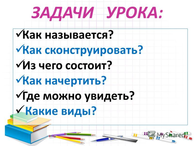ЗАДАЧИ УРОКА: Как называется? Как сконструировать? Из чего состоит? Как начертить? Где можно увидеть? Какие виды?