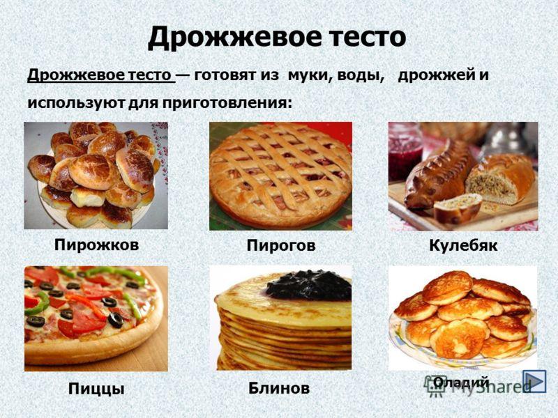 Дрожжевое тесто Дрожжевое тесто готовят из муки, воды, дрожжей и используют для приготовления: Пирожков ПироговКулебяк Пиццы Блинов Оладий