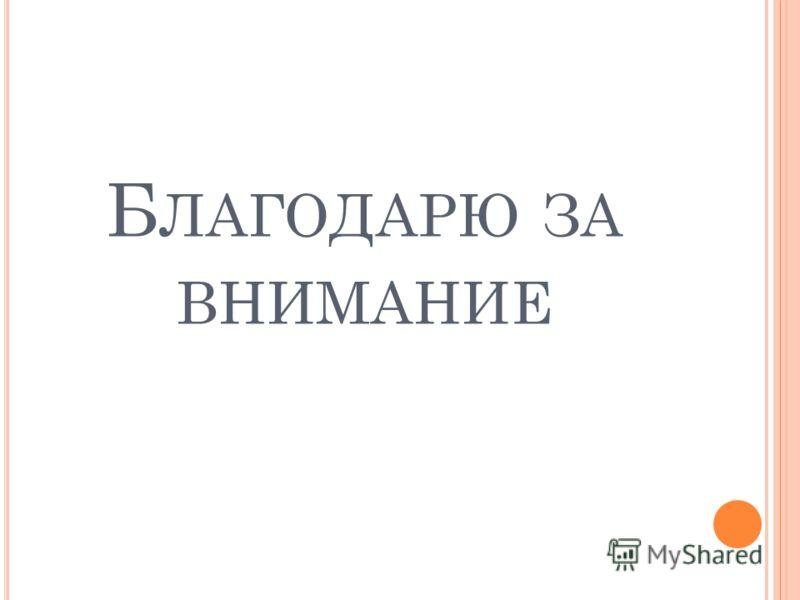 Б ЛАГОДАРЮ ЗА ВНИМАНИЕ
