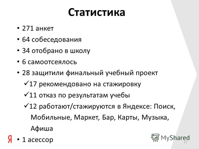 11 Статистика 271 анкет 64 собеседования 34 отобрано в школу 6 самоотсеялось 28 защитили финальный учебный проект 17 рекомендовано на стажировку 11 отказ по результатам учебы 12 работают/стажируются в Яндексе: Поиск, Мобильные, Маркет, Бар, Карты, Му