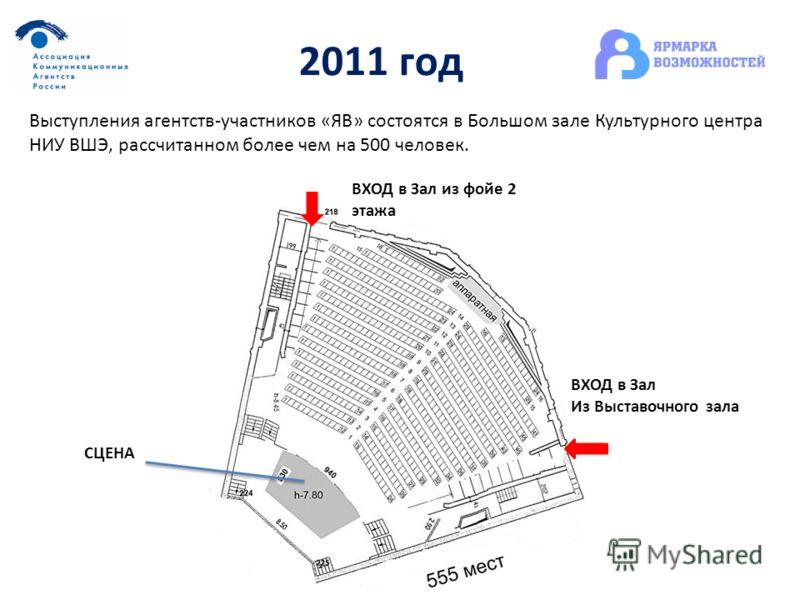 2011 год Выступления агентств-участников «ЯВ» состоятся в Большом зале Культурного центра НИУ ВШЭ, рассчитанном более чем на 500 человек. СЦЕНА ВХОД в Зал из фойе 2 этажа ВХОД в Зал Из Выставочного зала